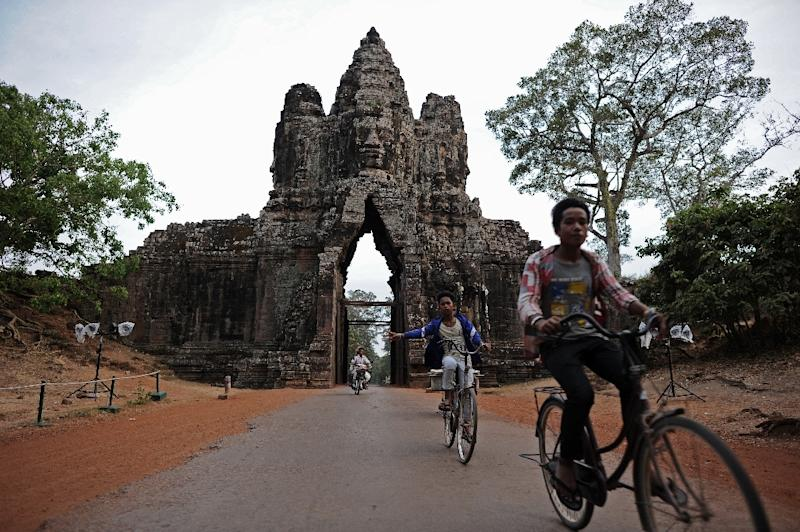 An entry gate to Angkor Thom, capital of the ancient Khmer empire