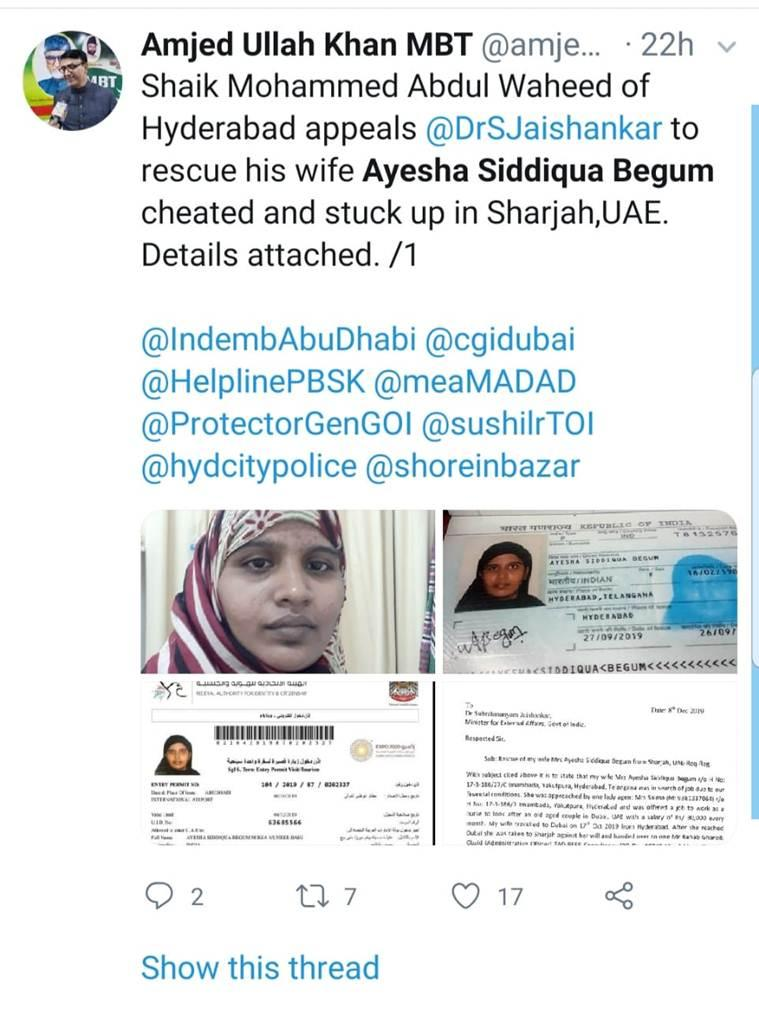 Hyderabad Police, Hyderabad woman rescued from Sharjah, Hyderabad woman rescued from Dubai, Hyderabad news, city news, Indian Express