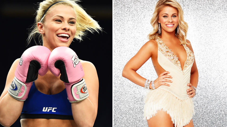 Paige VanZant, pictured here in the UFC and on 'Dancing with the Stars'.