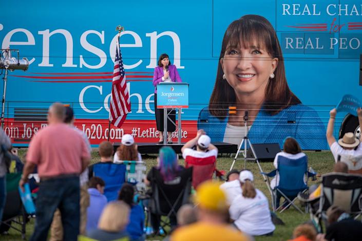 Libertarian Party presidential nominee Jo Jorgensen addresses the crowd during a campaign stop in Westfield, Ind., on Sept. 27, 2020. A few hundred people attended her only scheduled campaign stop in Indiana.