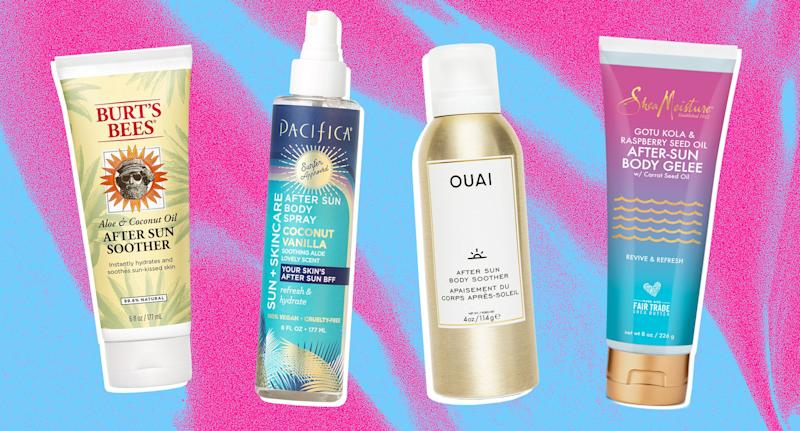 Got a sunburn? Get relief with these skin care products. (Photos: Burt's Bees, Pacifica, OUAI, SheaMoisture; Art by Quinn Lemmers for Yahoo Lifestyle)