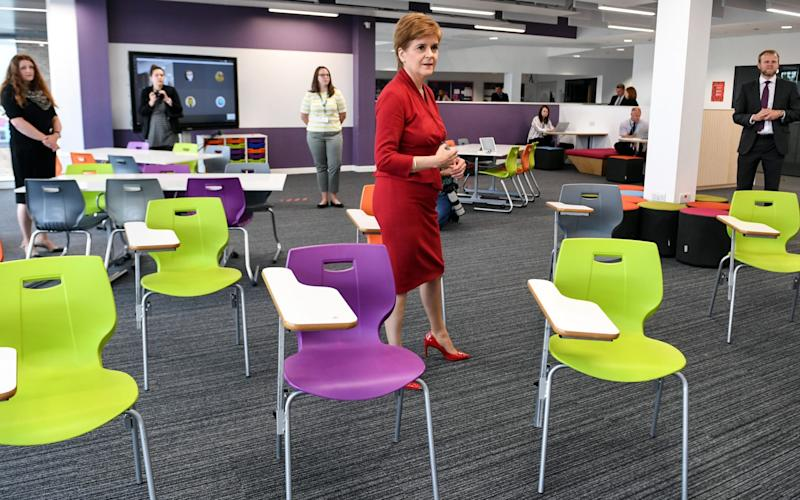 Nicola Sturgeon has announced Scottish secondary pupils are to wear face coverings in corridors and communal areas - Getty Images Europe