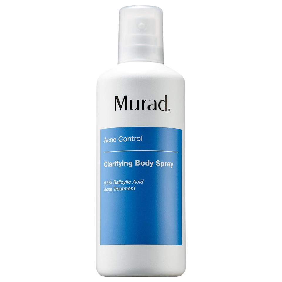 """<p>For breakouts <em>not</em> just on your face, this quick-drying <a href=""""https://www.popsugar.com/buy/Murad-Clarifying-Body-Spray-572843?p_name=Murad%20Clarifying%20Body%20Spray&retailer=sephora.com&pid=572843&price=44&evar1=bella%3Aus&evar9=47461551&evar98=https%3A%2F%2Fwww.popsugar.com%2Fbeauty%2Fphoto-gallery%2F47461551%2Fimage%2F47461580%2FMurad-Clarifying-Body-Spray&list1=sephora%2Cdry%20skin%2Cacne%2Csensitive%20skin%2Cbeauty%20shopping%2Cskin%20care&prop13=mobile&pdata=1"""" class=""""link rapid-noclick-resp"""" rel=""""nofollow noopener"""" target=""""_blank"""" data-ylk=""""slk:Murad Clarifying Body Spray"""">Murad Clarifying Body Spray</a> ($44) helps redness and acne anytime - and anywhere - it pops up, thanks to salicylic acid and cooling menthol.</p>"""