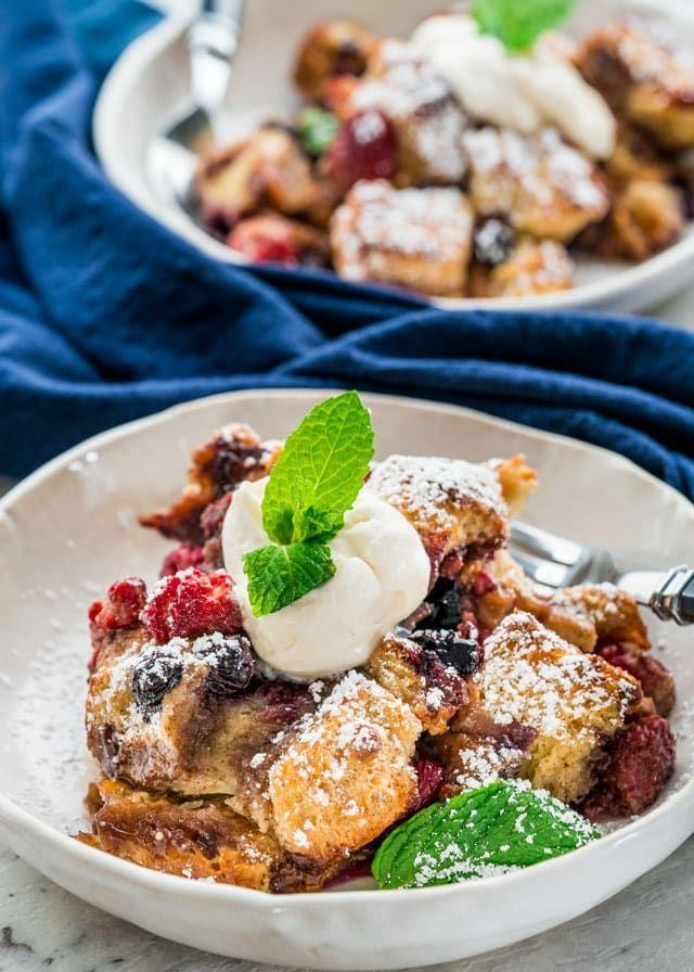 """<p>This <a href=""""https://www.countryliving.com/food-drinks/g2291/breakfast-casserole-recipes/"""" rel=""""nofollow noopener"""" target=""""_blank"""" data-ylk=""""slk:easy casserole"""" class=""""link rapid-noclick-resp"""">easy casserole</a> has a sweet surprise hiding inside: butterscotch chips!</p><p><strong>Get the recipe at<a href=""""https://www.jocooks.com/recipes/berry-brioche-bread-pudding/"""" rel=""""nofollow noopener"""" target=""""_blank"""" data-ylk=""""slk:Jo Cooks"""" class=""""link rapid-noclick-resp""""> Jo Cooks</a>.</strong></p>"""