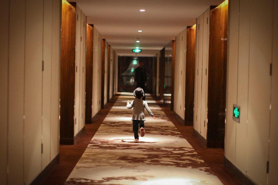 <p>The winding and patterned interior of the Overlook was based on thousands of reference photos that Stanley Kubrick and his team gathered by photographing various American hotels. Exterior shots were taken at the Timberline Lodge in Oregon.</p>