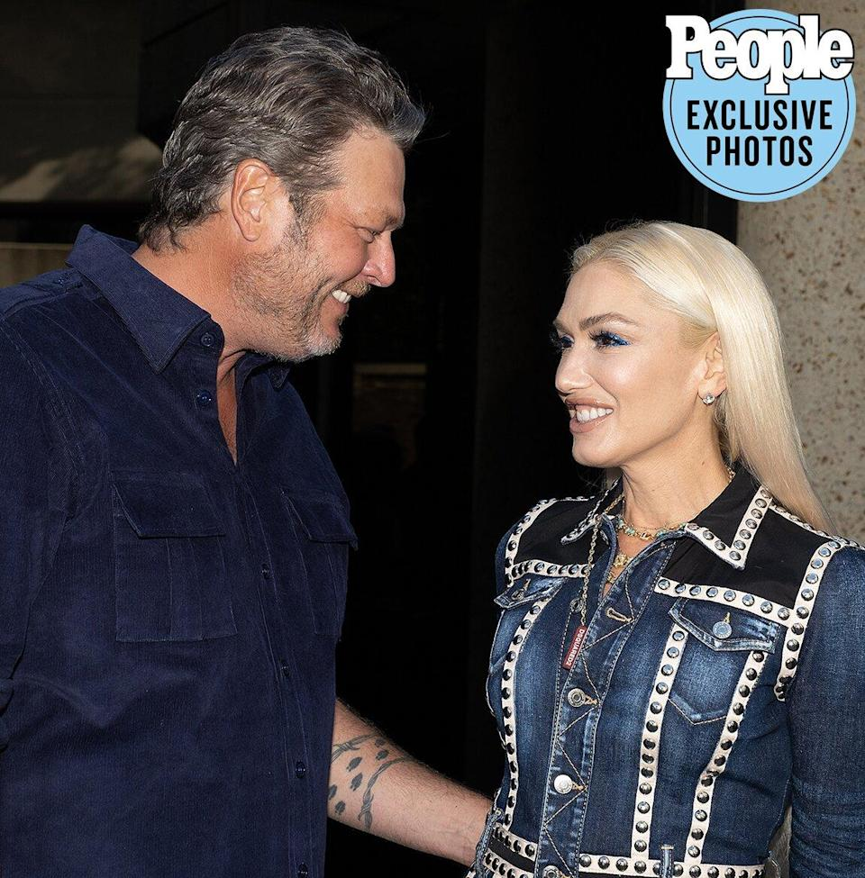 """Blake Shelton and Gwen Stefani arrive at BMI in Nashville for a No. 1 party celebrating """"Nobody But You"""" and """"Happy Anywhere."""""""