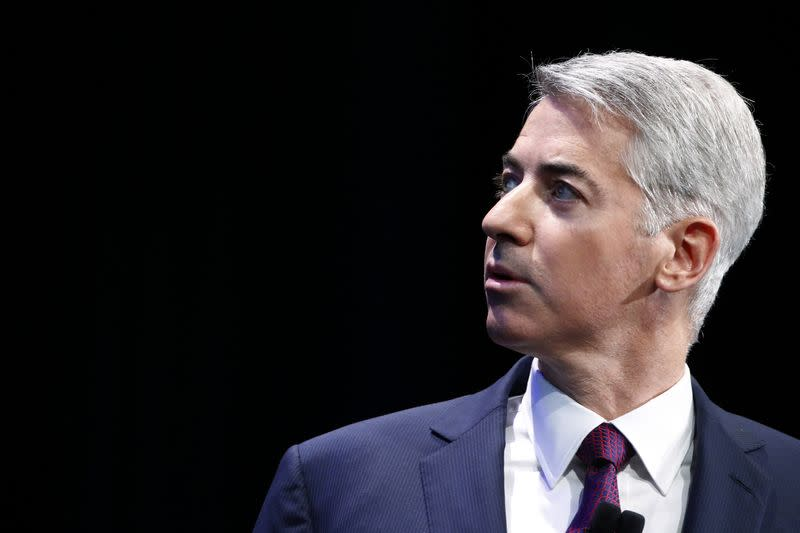 File photo of William Ackman, founder and CEO of hedge fund Pershing Square Capital Management, speaks to audience about Herbalife company in New York