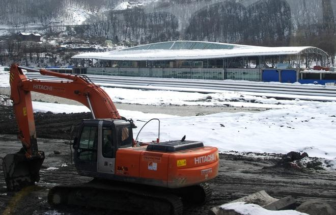 A photo taken on a press tour on February 17, 2012 shows the train station in the Russian ski resort of Krasnaya Polyana , some 50 kms from the Russian Black Sea resort of Sochi, venue of the 2014 Winter Olympics games. Russian government officials have brushed off concerns over corruption and delays to insist the venues hosting the 2014 Olympic Games in Sochi will be completed well ahead of schedule.  The first Olympic Games to be held in Russia since the boycott-hit Moscow Games in 1980 should herald another step forward on sport's world stage for the former Soviet Union. AFP  PHOTO / OLIVIER MORIN
