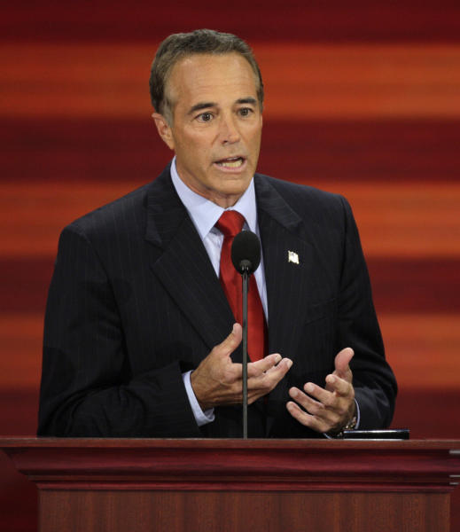 """FILE - In this Sept. 3, 2008, file photo, Chris Collins, of Buffalo, N.Y., speaks at the Republican National Convention in St. Paul, Minn. Indicted Republican Rep. Chris Collins said it was """"the shock of all shocks"""" when he learned from two federal agents that he was under criminal investigation, and he acknowledged reports that he had rejected a plea deal. In an interview airing Monday, Sept. 10, 2018, the three-term New York lawmaker told Buffalo television station WIVB that he thought the agents came to him in April to talk about an ongoing congressional ethics probe related to his ties to a biotechnology company. (AP Photo/Ron Edmonds, File)"""
