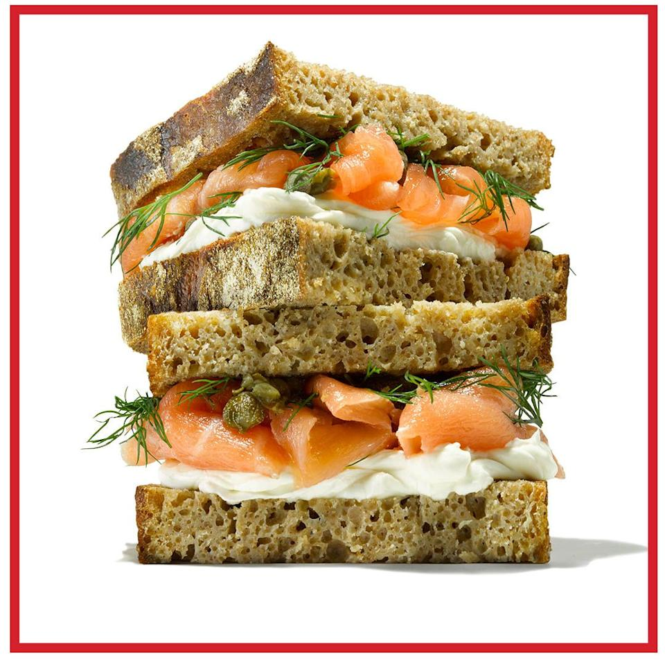 <p><strong>- Rye sourdough, 2 slices<br>- Cream cheese, 1tbsp<br>- Capers, 1tsp<br>- Smoked salmon, 70g<br>- Mustard dressing, 1-2tbsp<br>- Dill, 1 pinch<br>- Lemon, 1 squeeze</strong><br><br>To do your rye justice, pack it with as many Scandinavian flavours as you can. You'll also want to slice it a little thinner, as it tends to be a denser bread. Once cut, spread the bottom slice with a good dollop of cream cheese. Top with capers, smoked salmon and lashings of mustard dressing, then finish with dill, a squeeze of lemon, plus a pinch of salt and black pepper for good measure.</p>