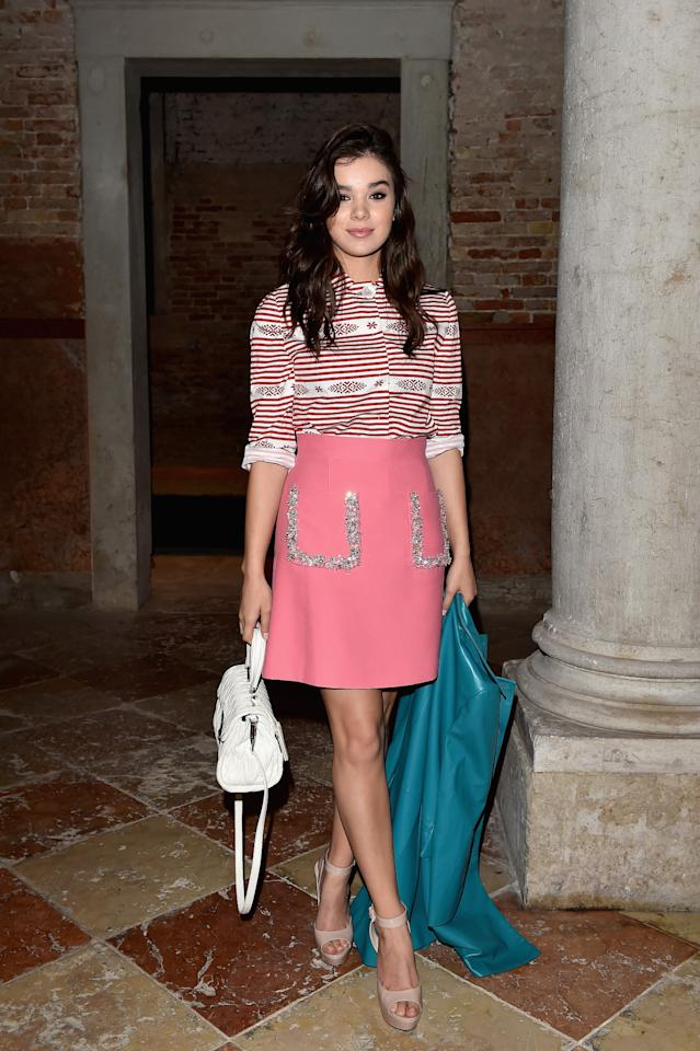 <p>The Love Myself singer arrived to the Miu Miu Women's Tales Dinner during the Venice Film Festival looking exquisite and youthful in this ensemble. (Getty Images)</p>