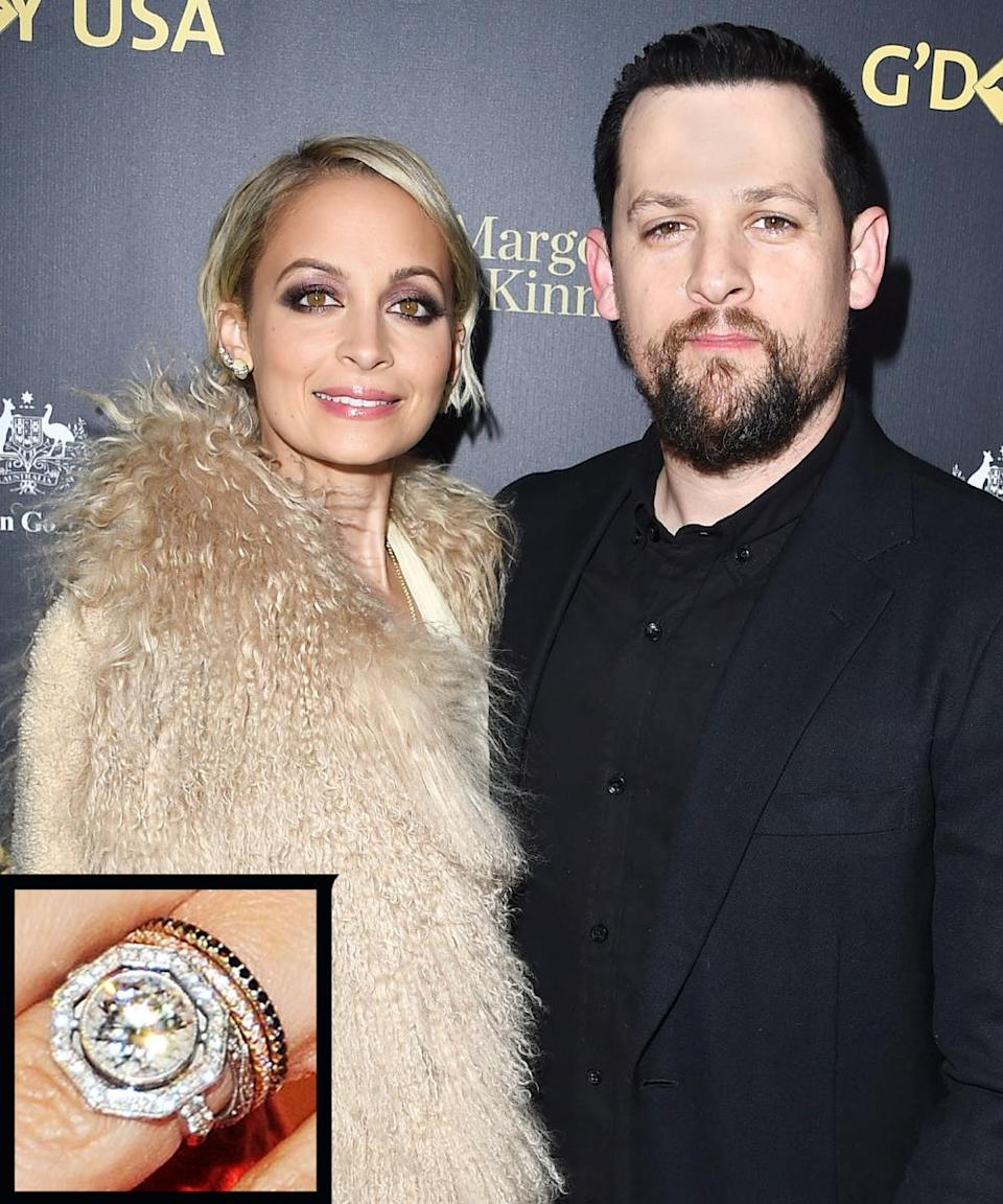 <p>Rocker Joel Madden proposed to Nicole Richie with a stunning diamond ring that weighs in at a little more than 4 carats in 2010. The couple married later that year.</p>