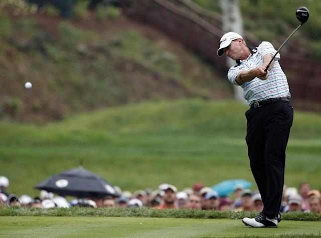 Steve Stricker hits his tee shot on the 15th hole during the second round of the PGA Championship golf tournament at Valhalla Golf Club on Friday, Aug. 8, 2014, in Louisville, Ky. (AP Photo/Mike Groll)