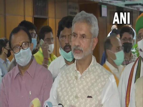 EAM S Jaishankar speaking after the all-party meeting on Afghanistan. (ANI)