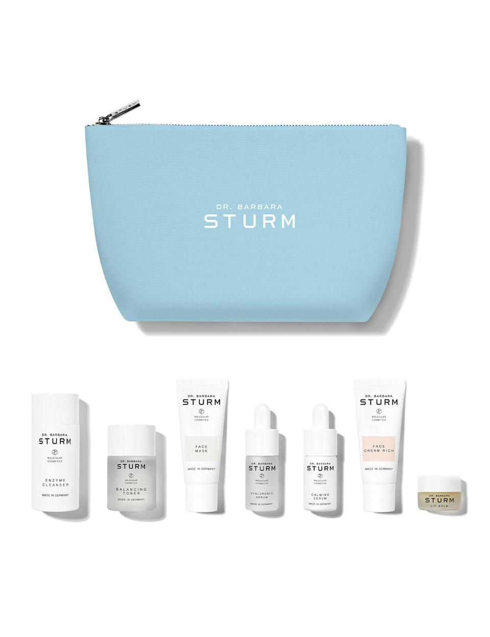 """<strong><h2>Dr. Barbara Sturm's Winter Kit</h2></strong><br>""""During this pandemic, I've had more trouble with acne than ever. I get it during my period and when I'm particularly stressed (hello,<a href=""""https://www.refinery29.com/en-us/2020/09/10027052/what-is-election-stress-disorder-relief"""" rel=""""nofollow noopener"""" target=""""_blank"""" data-ylk=""""slk:2020 election,"""" class=""""link rapid-noclick-resp""""> 2020 election,</a> I see you). Wearing a mask around my chin, right where my breakouts tend to occur, doesn't help. But this kit has. The products – which are cruelty-, fragrance- and paraben-free – arrived right when <a href=""""https://www.refinery29.com/en-us/2020/07/9924407/maskne-help-acne-from-face-mask"""" rel=""""nofollow noopener"""" target=""""_blank"""" data-ylk=""""slk:my maskne"""" class=""""link rapid-noclick-resp"""">my maskne</a> was at its most treacherous, and the hero products, including the<a href=""""https://www.drsturm.com/enzyme-cleanser/"""" rel=""""nofollow noopener"""" target=""""_blank"""" data-ylk=""""slk:enzyme cleanser"""" class=""""link rapid-noclick-resp""""> enzyme cleanser</a> and <a href=""""https://www.drsturm.com/mini-calming-serum/"""" rel=""""nofollow noopener"""" target=""""_blank"""" data-ylk=""""slk:the calming serum"""" class=""""link rapid-noclick-resp"""">the calming serum</a>, cleared things up in less than a week. The lightweight serum in particular uses ingredients as such as Echium, and Sunflower Extract to help rebalance irritated skin and soothe redness."""" —<em> ML </em><br><br><strong>Dr. Barbara Sturm</strong> THE WINTER KIT, $, available at <a href=""""https://go.skimresources.com/?id=30283X879131&url=https%3A%2F%2Fwww.drsturm.com%2Fthe-winter-kit%2F"""" rel=""""nofollow noopener"""" target=""""_blank"""" data-ylk=""""slk:Dr. Barbara Sturm"""" class=""""link rapid-noclick-resp"""">Dr. Barbara Sturm</a>"""