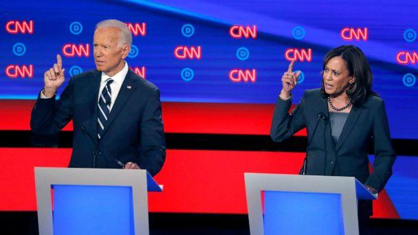 PHOTO: Former Vice President Joe Biden and Sen. Kamala Harris, D-Calif., participate in the second of two Democratic presidential primary debates, July 31, 2019, in Detroit. (Paul Sancya/AP)