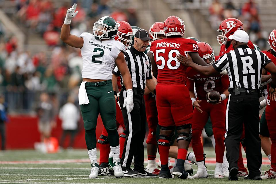Michigan State defensive end Drew Jordan reacts after sacking Rutgers quarterback Noah Vedral  during the second half of an NCAA college football game Saturday, Oct. 9, 2021, in Piscataway, N.J. Michigan State won 31-13.