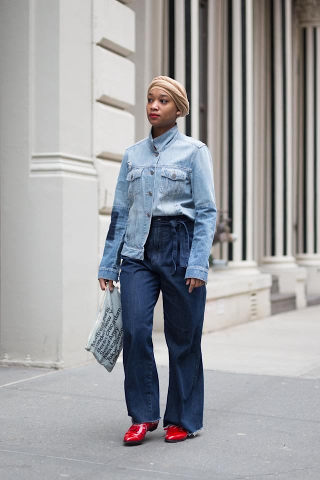 <p>Keep it denim-on-denim, but add a splash of color by way of a bright pair of red shoes.</p>