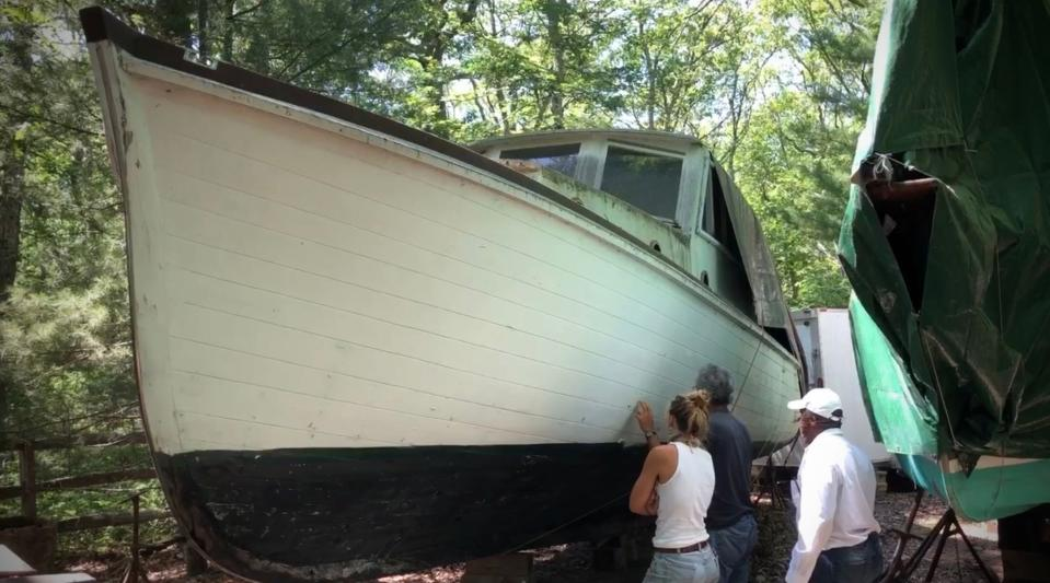 This July 20, 2020 photo provided by David Bigelow in Vineyard Haven, Mass. shows part of a boat that is being retrofitted to replicate the boat from the movie Jaws. A group of ocean lovers and movie buffs is building a replica of the boat, the Orca, for use as a conservation tool. (David Bigelow via AP)