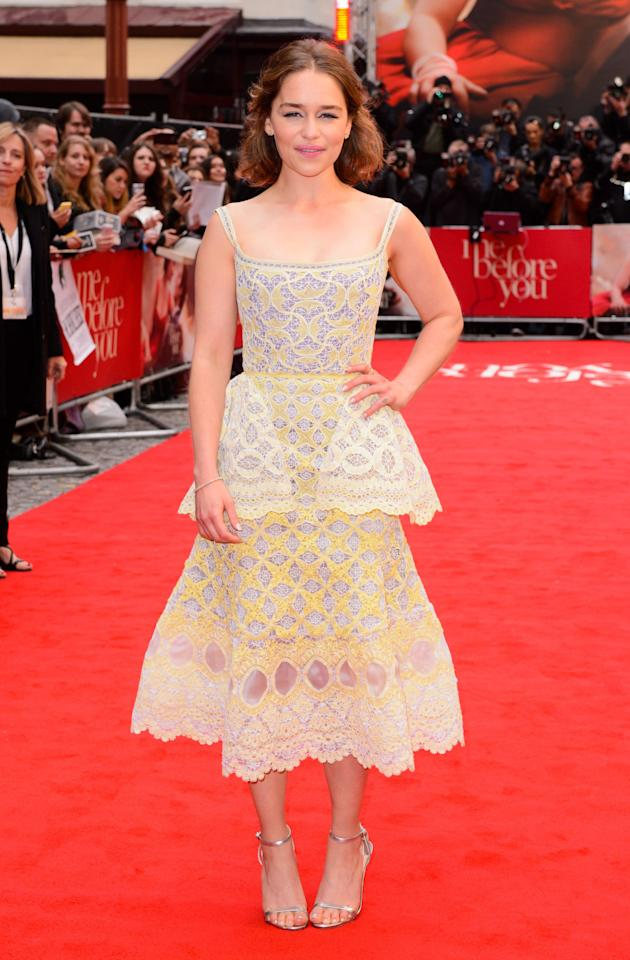 <p>This structured peplum frock was a winning look for 'Game of Thrones' star Emilia at the premiere of her new film. <i>[Photo: Rex Features]</i></p>