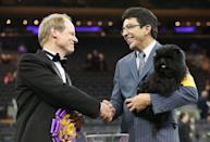 """<p>Banana Joe is <a href=""""https://www.nytimes.com/2013/02/13/sports/no-ordinary-affenpinscher-banana-joe-is-named-best-in-show.html"""" rel=""""nofollow noopener"""" target=""""_blank"""" data-ylk=""""slk:the only affenpinscher to have won"""" class=""""link rapid-noclick-resp"""">the only affenpinscher to have won</a>, which is why this tiny pup is being carried like precious cargo.</p>"""