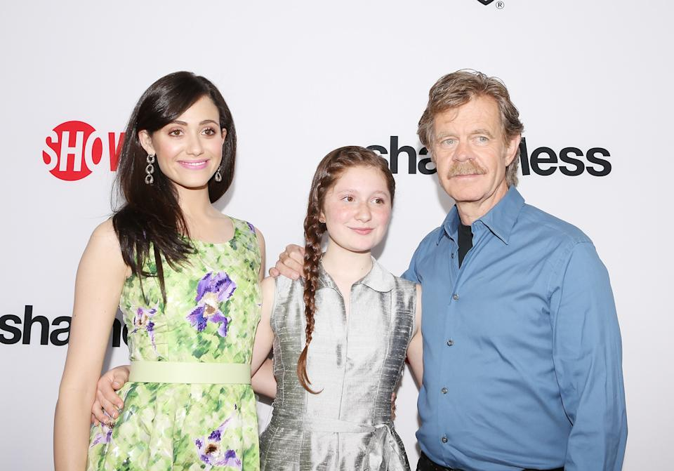 Shameless stars Emmy Rossum, Emma Kenney and William H. Macy at a 2013 screening of the show.
