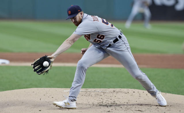 Detroit Tigers starting pitcher Spencer Turnbull fields a ball hit by Cleveland Indians' Oscar Mercado in the first inning in a baseball game, Wednesday, Sept. 18, 2019, in Cleveland. Mercado was out on the play. (AP Photo/Tony Dejak)