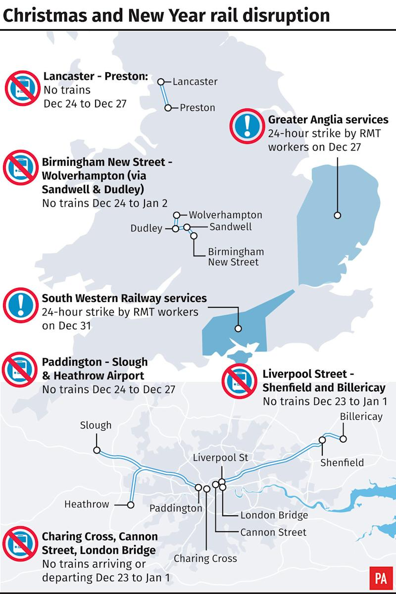 <strong>Network Railwill be carryingout its biggest ever Christmas investment programme.</strong> (PA)