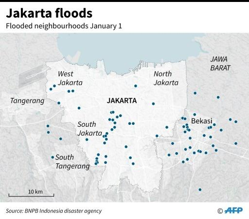 Map of Jakarta showing the areas affected by flooding