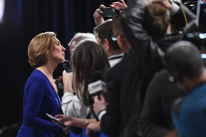 <p>Businesswoman Carly Fiorina speaks to the media after the Fox Business Network Republican presidential debate at the North Charleston Coliseum on Jan. 14, 2016, in North Charleston, S.C. <i>(Photo: Rainier Ehrhardt/AP)</i></p>