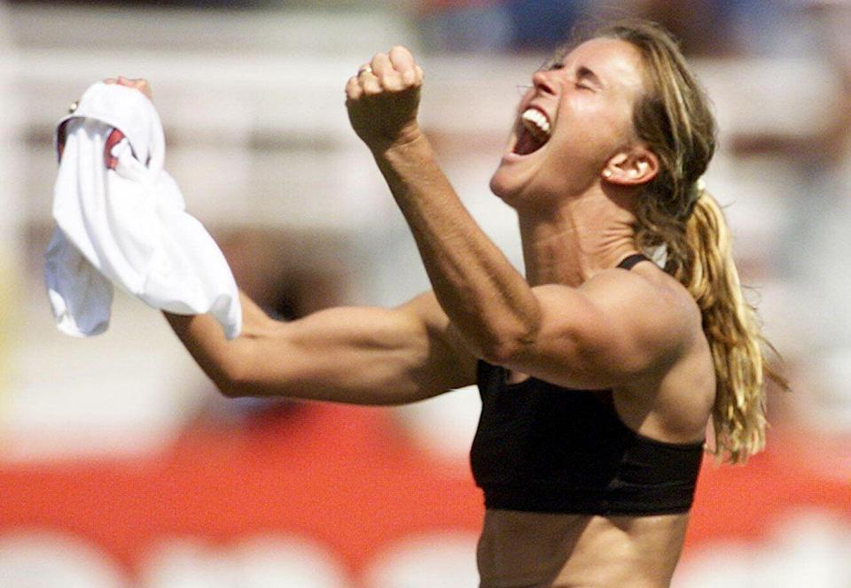 Brandi Chastain's winning penalty was the signature moment of the United States' iconic 1999 Women's World Cup victory. (Getty)