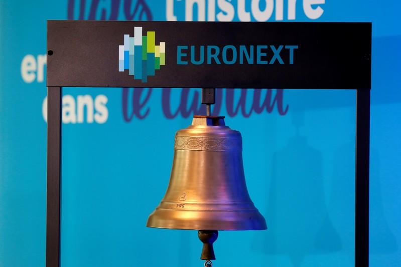 A bell is seen at the Euronext headquarters at La Defense business and financial district in Courbevoie near Paris