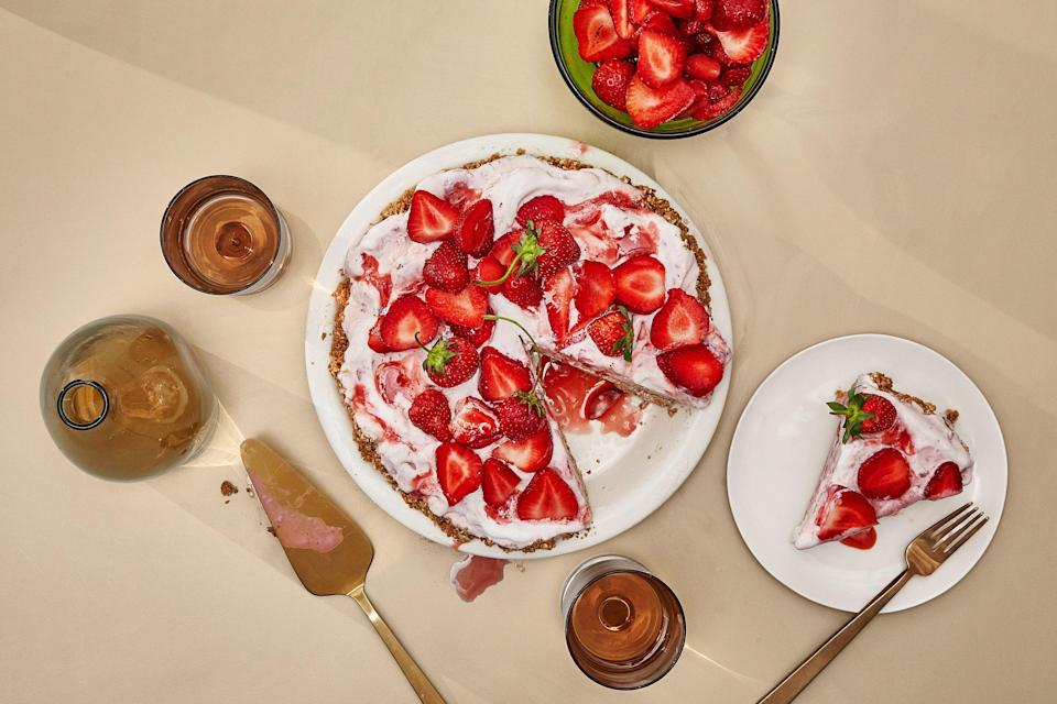 """When a crunchy salted press-in crust and swirly fruity ice cream team up, everyone wins. It's pie without baking and an ice cream sundae without the fuss. Success can be yours—just keep everything cold as you go. <a href=""""https://www.epicurious.com/recipes/food/views/coconut-strawberry-ice-cream-pie?mbid=synd_yahoo_rss"""" rel=""""nofollow noopener"""" target=""""_blank"""" data-ylk=""""slk:See recipe."""" class=""""link rapid-noclick-resp"""">See recipe.</a>"""
