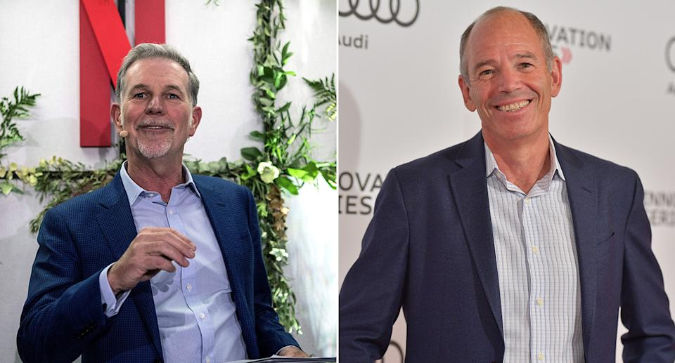 Netflix founders Reed Hastings (left) and Marc Randolph. (Getty)