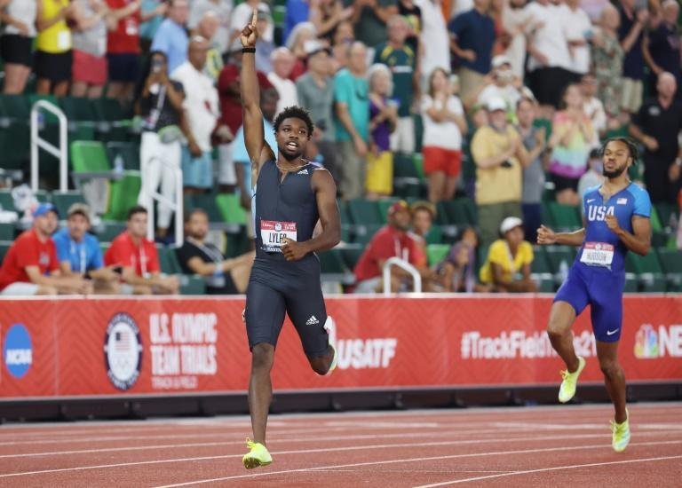 Noah Lyles celebrates after winning the men's 200m final at the US Olympic trials in Oregon on Sunday