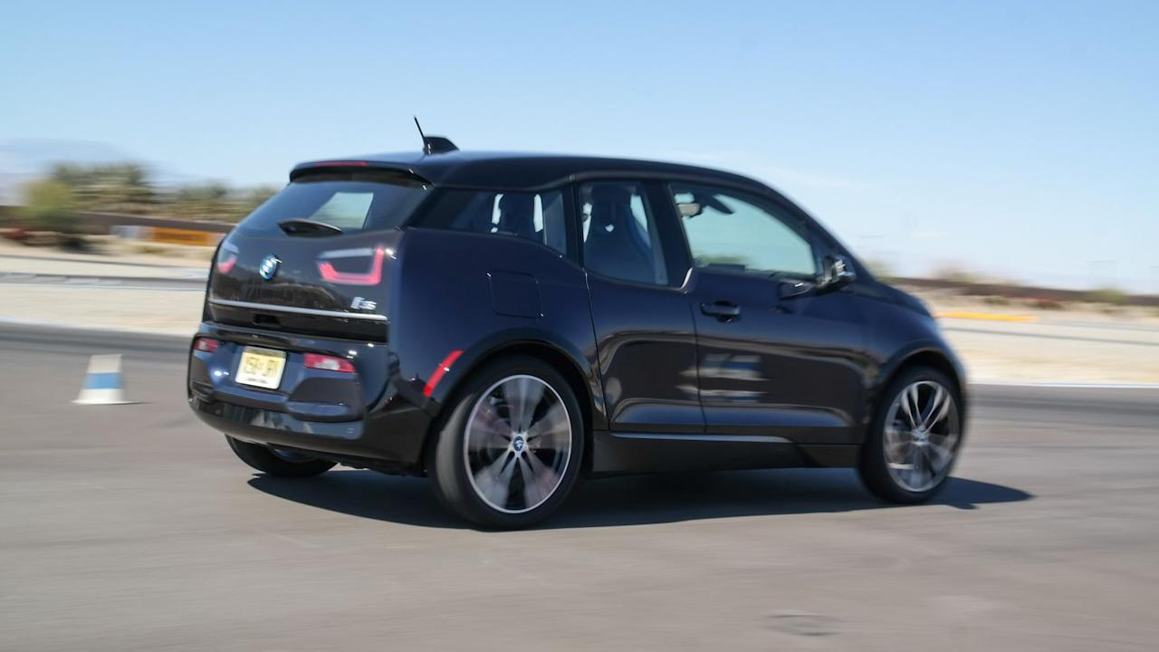 <p>Like some other electric cars, all of the i3s's heavy batteries sit on the floor of the car between the wheels. This means all the weight is as close to the bottom and center of gravity as possible, making it incredibly balanced. The wider track and a lowered suspension help too. </p>