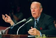 George Shultz, seen here testifying before US lawmakers in 2000, served as Ronald Reagan's secretary of state