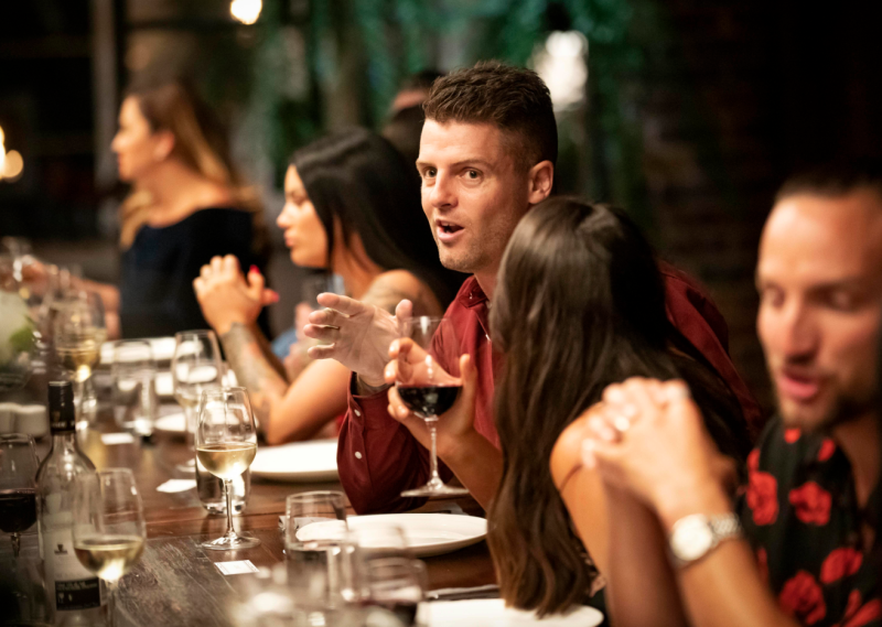Married at first sight david sits at dinner party