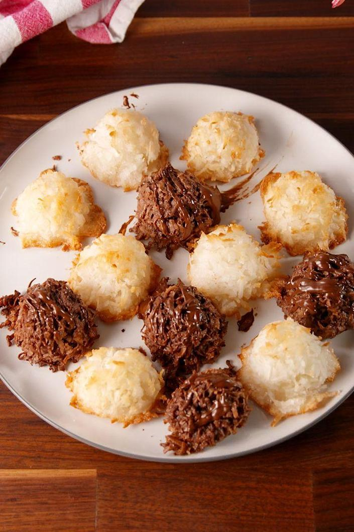 """<p>Everyone's favorite part of Passover.</p><p>Get the recipe from <a href=""""https://www.delish.com/cooking/recipe-ideas/recipes/a52234/ultimate-macaroons-recipe/"""" rel=""""nofollow noopener"""" target=""""_blank"""" data-ylk=""""slk:Delish"""" class=""""link rapid-noclick-resp"""">Delish</a>.</p>"""