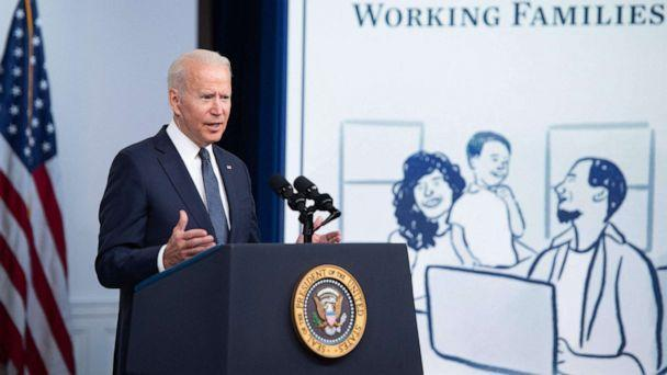 PHOTO: President Joe Biden speaks about the Child Tax Credit relief payments that are part of the American Rescue Plan during an event in the Eisenhower Executive Office Building in Washington, D.C., July 15, 2021. (Saul Loeb/AFP via Getty Images)