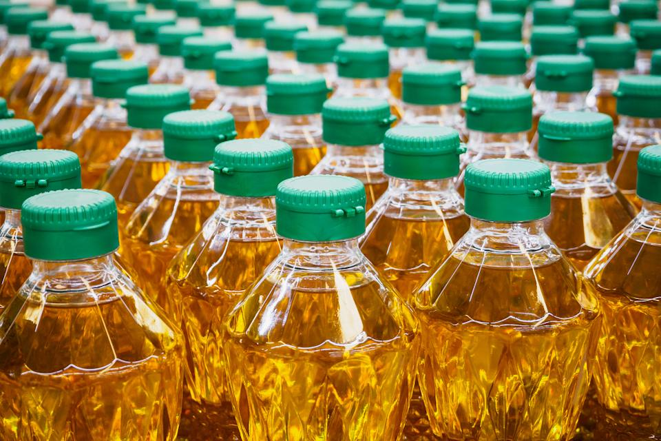 Cooking oil bottles at factory warehouse