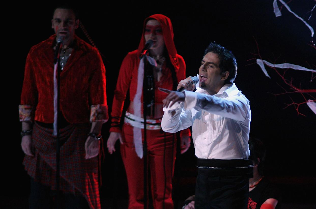 HELSINKI, FINLAND - MAY 11:  Armenia's entry to the Eurovision Song Contest 2007, Hayko performs on stage during a dress rehearsal for the Final on May 11, 2007, in Helsinki, Finland. The final of the Eurovision Song Contest will take place at Hartwall Areena on May 12, 2007 in Helsinki, Finland.  (Photo by Johannes Simon/Getty Images)