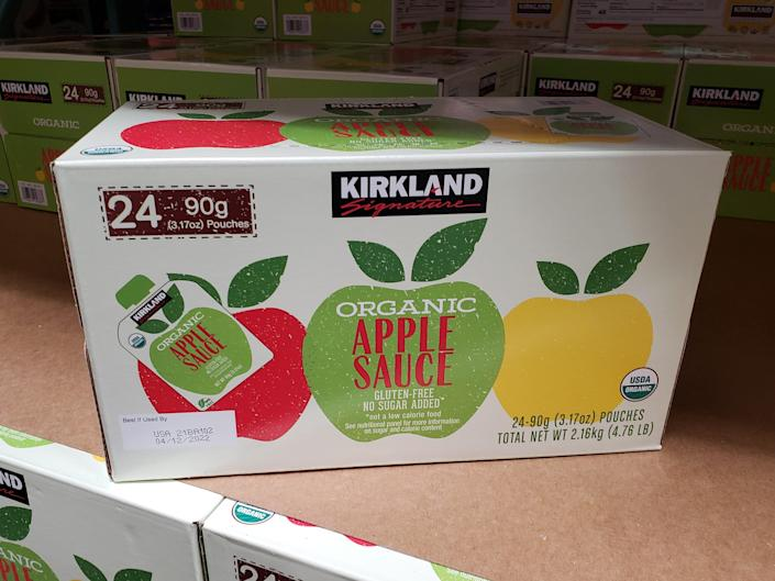 box of bulk applesauce pouches at costco