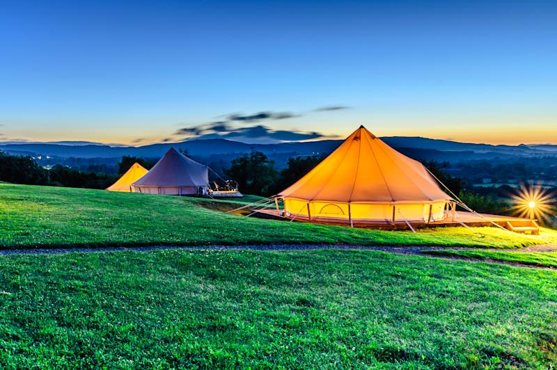 Picture of tents in camp during the sunset