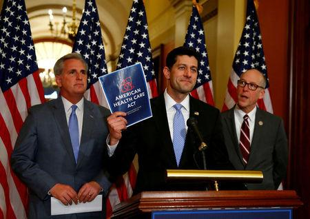 FILE PHOTO - (L-R)U.S. House Majority Leader Kevin McCarthy, U.S. House Speaker Paul Ryan, and  U.S. Representative Greg Walden hold a news conference on the American Health Care Act on Capitol Hill in Washington, U.S. on March 7, 2017. REUTERS/Eric Thayer/File Photo