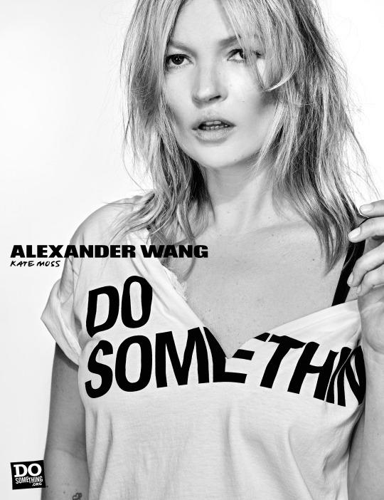 Kate Moss in the Alexander Wang x DoSomething T-shirt