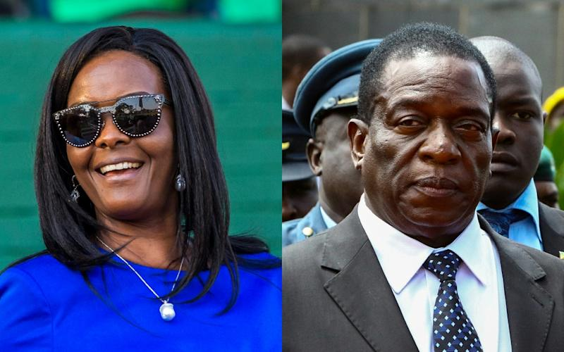 Tensions over the succession of Zimbabwe's ageing president, Robert Mugabe, have erupted into the open, pitching First Lady Grace Mugabe against Vice President Emmerson Mnangagwa (AFP Photo/Jekesai NJIKIZANA)