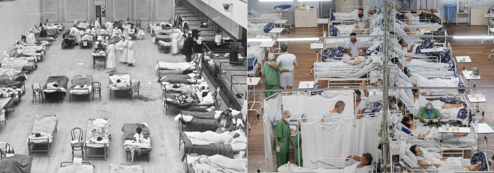 """This combination photo shows volunteer nurses from the American Red Cross tending to influenza patients in the Oakland Municipal Auditorium, used as a temporary hospital in 1918, left, and COVID-19 patients lie on beds at a field hospital built inside a sports coliseum in Santo Andre, outside Sao Paulo, Brazil, on March 4, 2021. As hopes rise that the pandemic is ebbing in the United States and Europe, visions of a second """"Roaring Twenties"""" to match last century's post-pandemic decade have proliferated.. (Edward A. """"Doc"""" Rogers/Library of Congress via AP, left, and AP Photo)"""