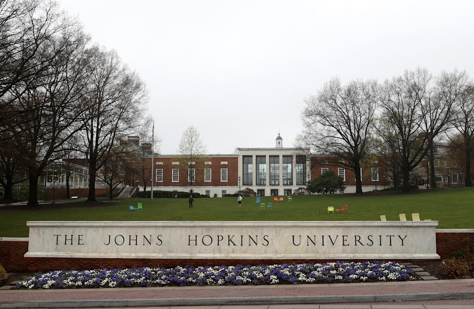 A general view of The Johns Hopkins University on March 28, 2020 in Baltimore, Maryland. The school is shut down due to the coronavirus (COVID-19) outbreak. (Rob Carr/Getty Images)