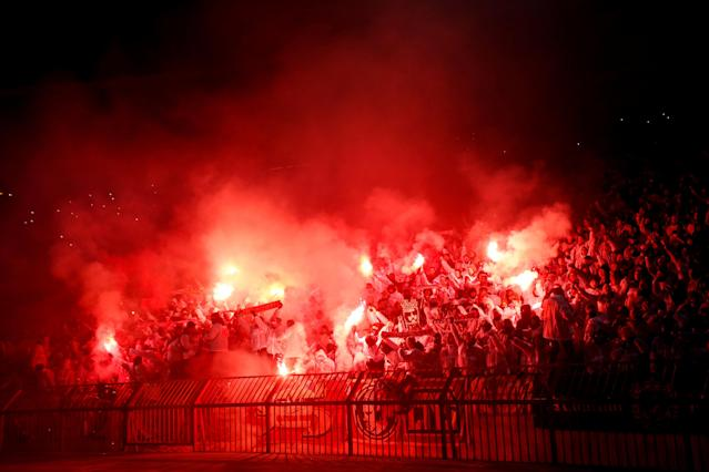 Soccer Football - Europa League - Red Star Belgrade vs FC Cologne - Rajko Mitic Stadium, Belgrade, Serbia - December 7, 2017 General view of FC Koln fans with flares REUTERS/Novak Djurovic TPX IMAGES OF THE DAY